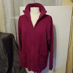 Dark pink Norm Thompson zip front sweater